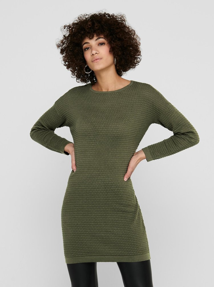 Khaki svetrové šaty Jacqueline de Yong Barbarini