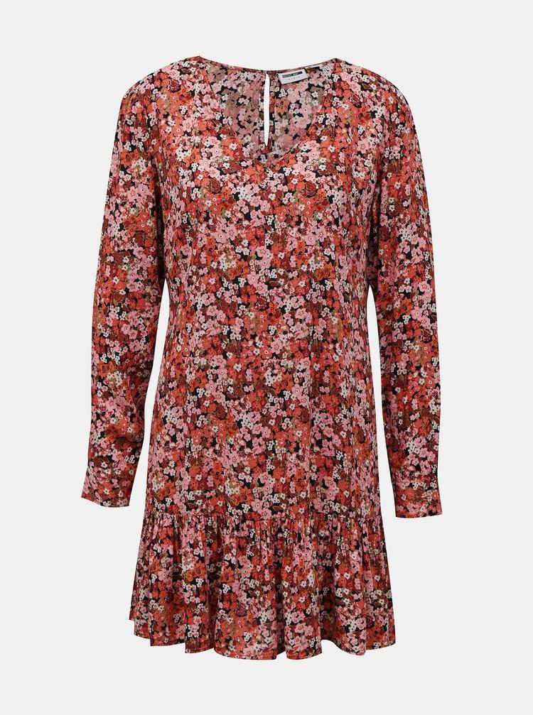 Červeno-růžové květované šaty Noisy May Bella