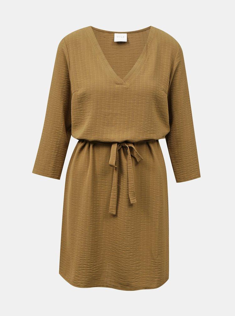Hnědé šaty se zavazováním VILA Lovie
