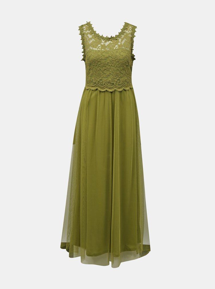 Zelené maxišaty s krajkovým topem VILA Lynnea