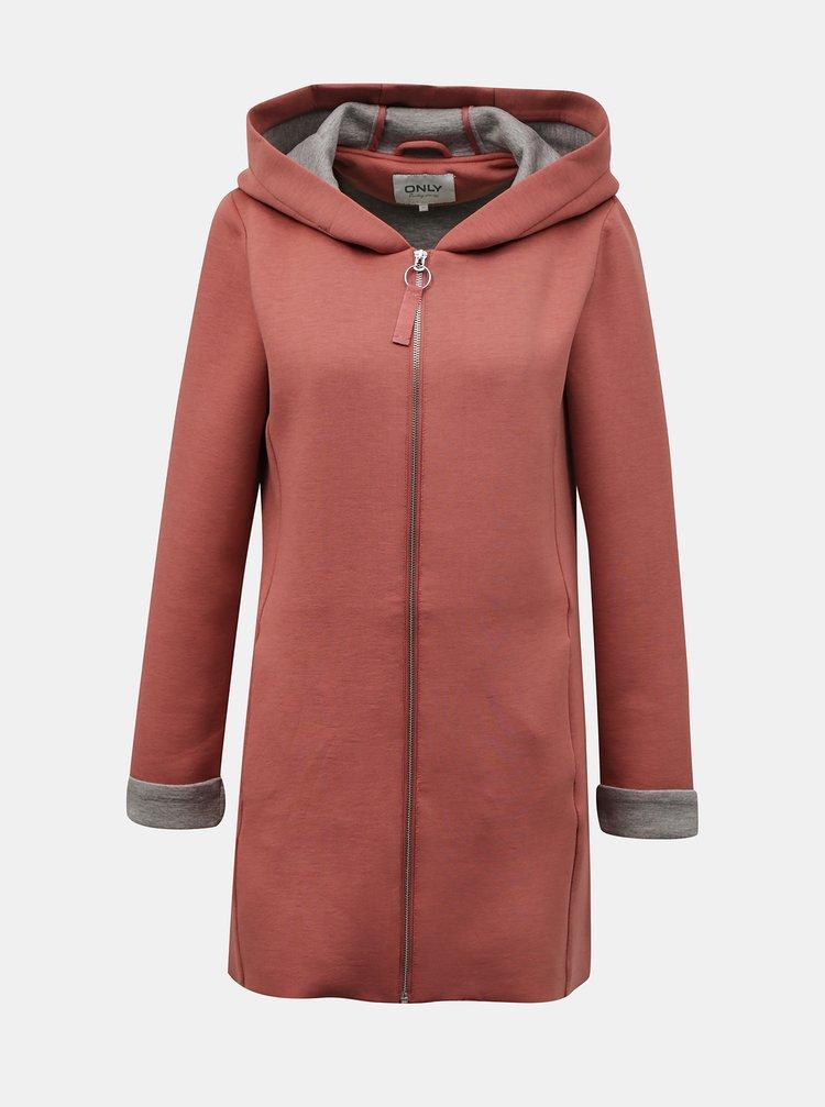 Ružový mikinový kabát s kapucou ONLY Lena