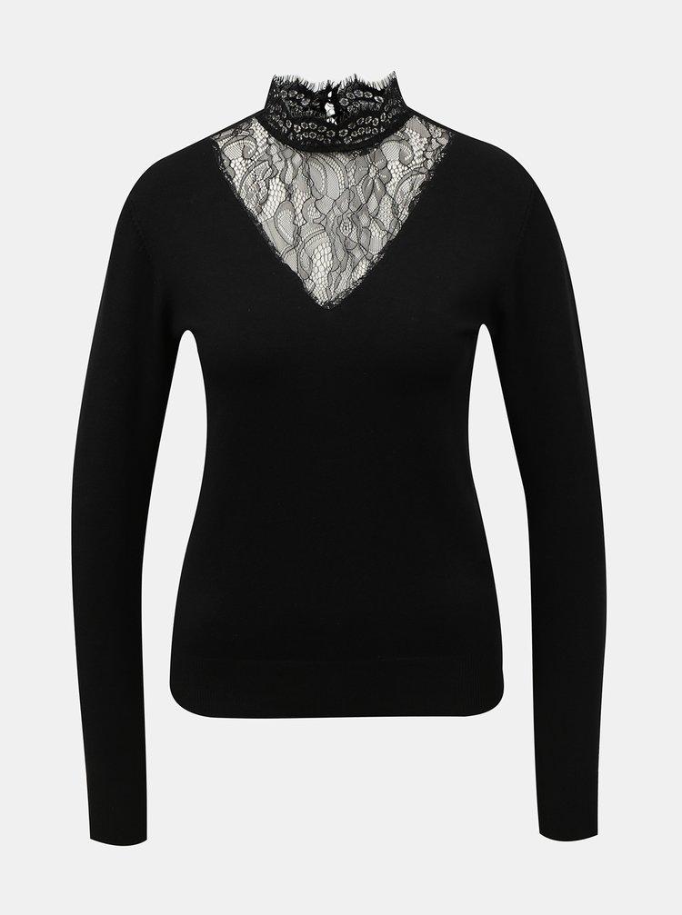 Čierny sveter s krajkou VILA