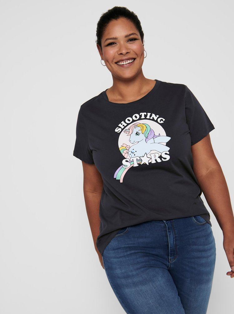 Tmavošedé tričko s potlačou ONLY CARMAKOMA Pony