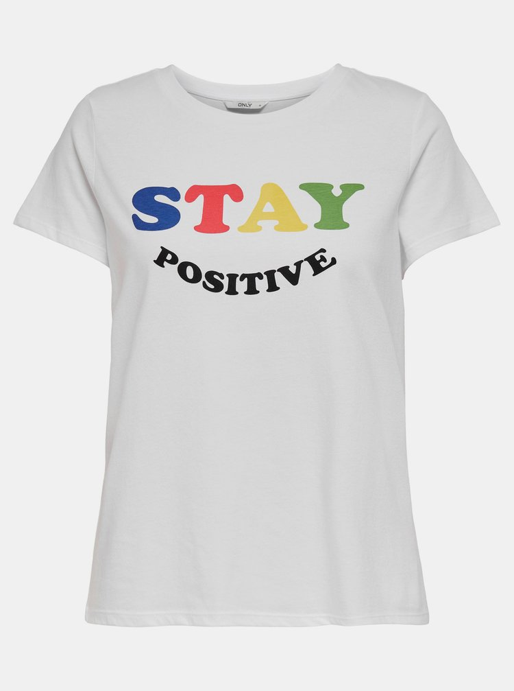 Biele tričko s potlačou ONLY Happy