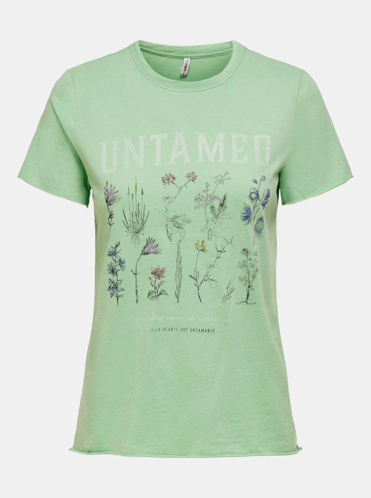 Zelené tričko s potlačou ONLY Lucy