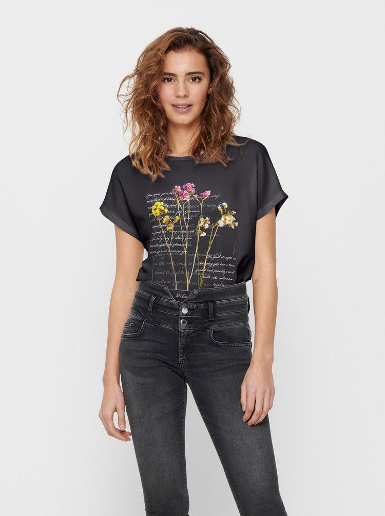Černé tričko s potiskem ONLY Wendy