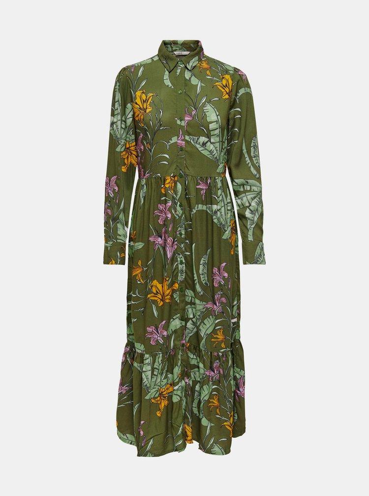 Zelené květované košilové maxišaty ONLY Palm