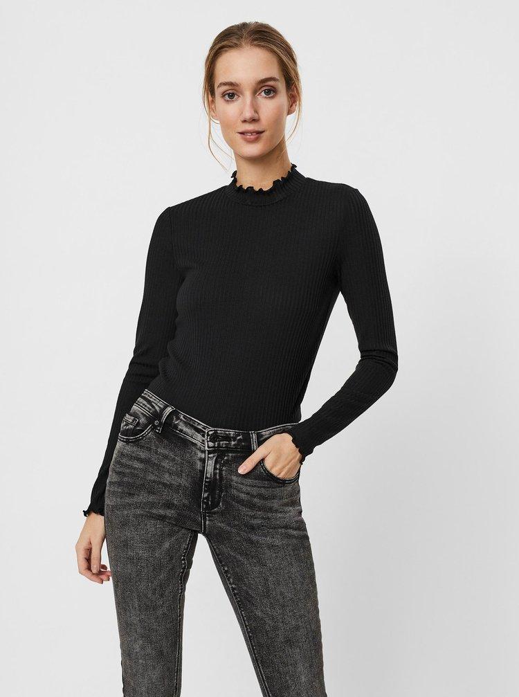 Čierne tričko so stojáčikom VERO MODA Maya
