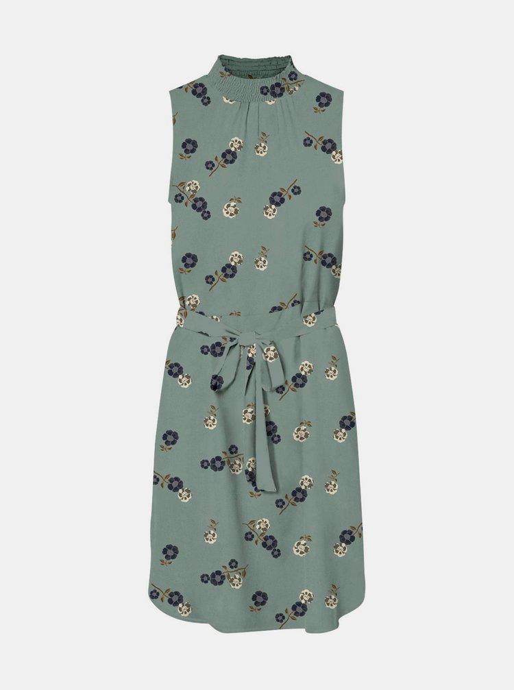 Světle zelené květované šaty se stojáčkem VERO MODA Fallie