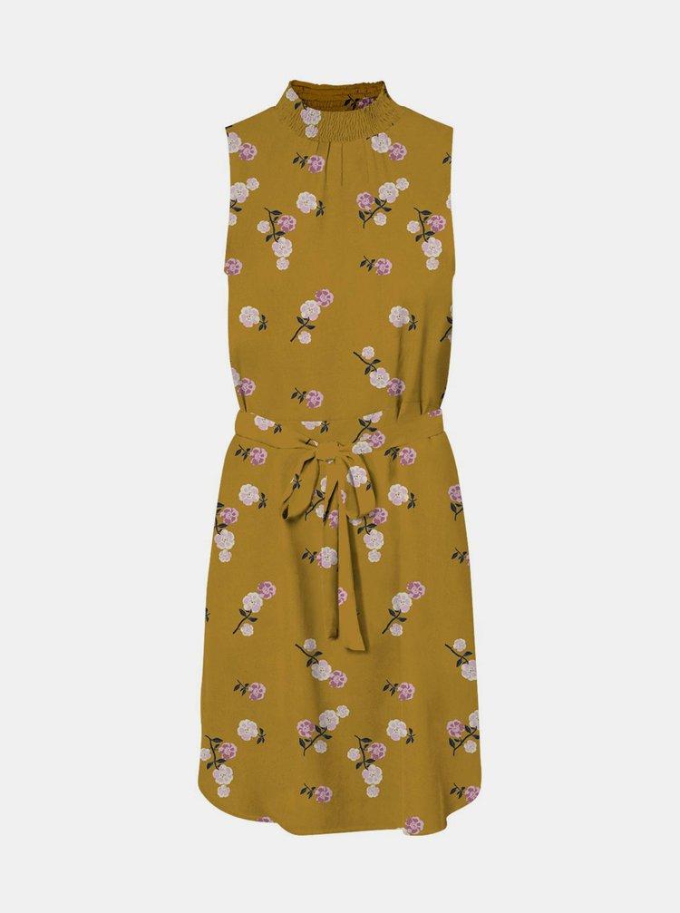 Žluté květované šaty se stojáčkem VERO MODA Fallie