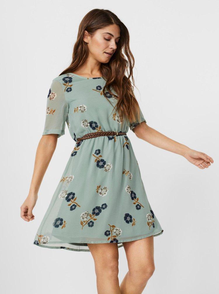 Světle zelené květované šaty s páskem VERO MODA Fallie