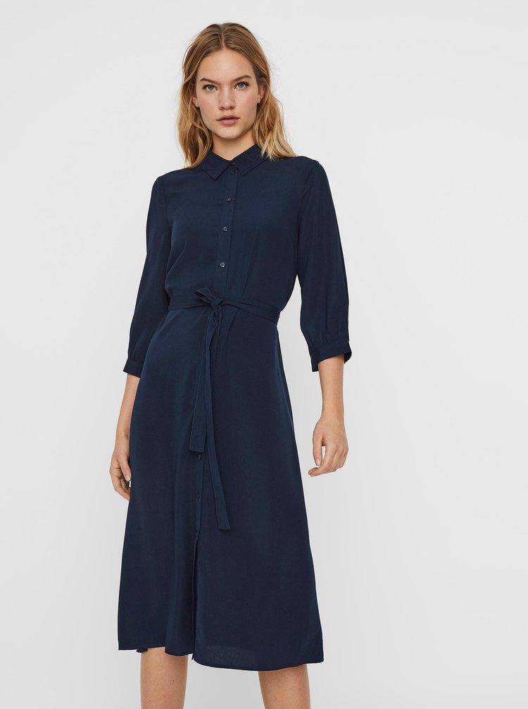 Tmavě modré košilové šaty VERO MODA Cara