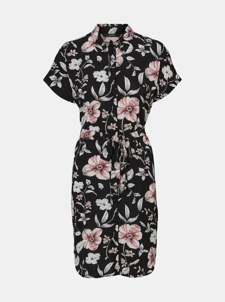 Černé květované košilové šaty VERO MODA Sahanna