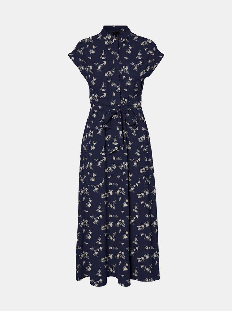 Tmavě modré květované košilové maxišaty VERO MODA Fallie