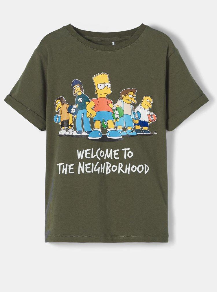 Kaki detské tričko s potlačou name it Simpsons