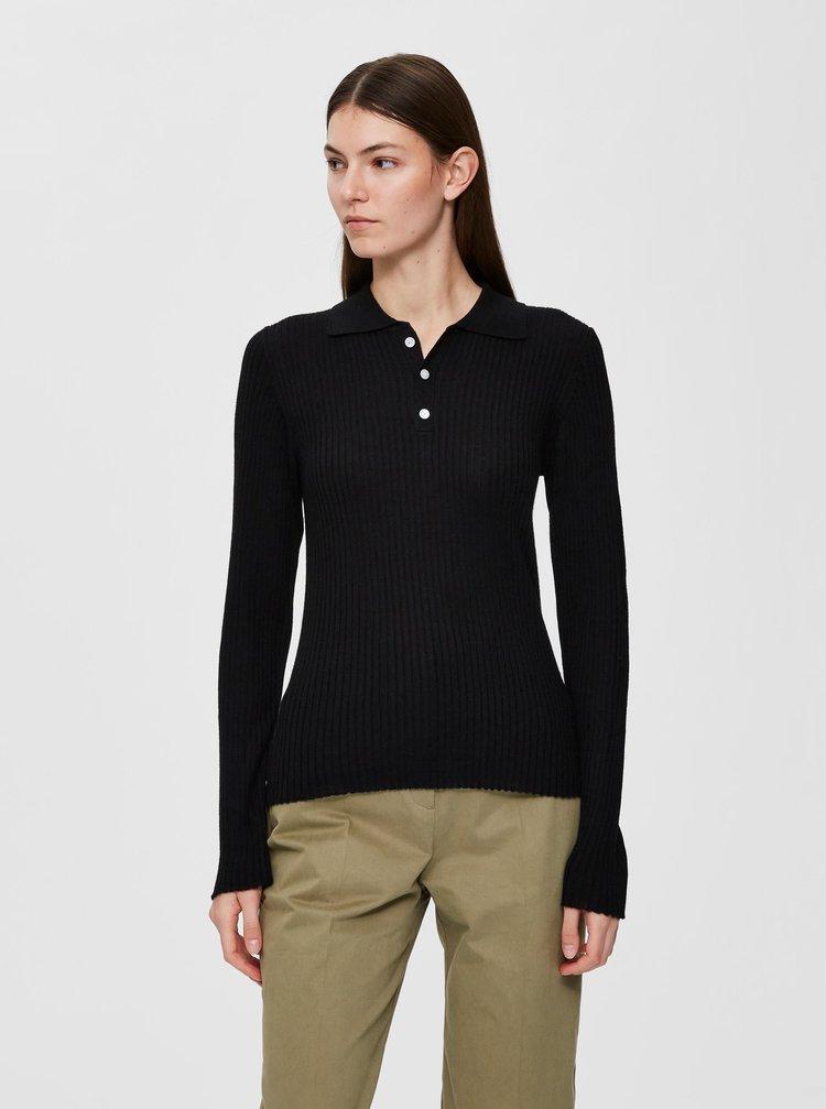 Černé vlněné polo tričko Selected Femme Costa