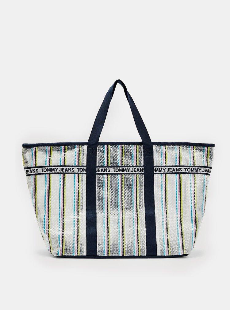 Tommy Hilfiger zajímavá kabelka Mini Logo Tape Tote Weave