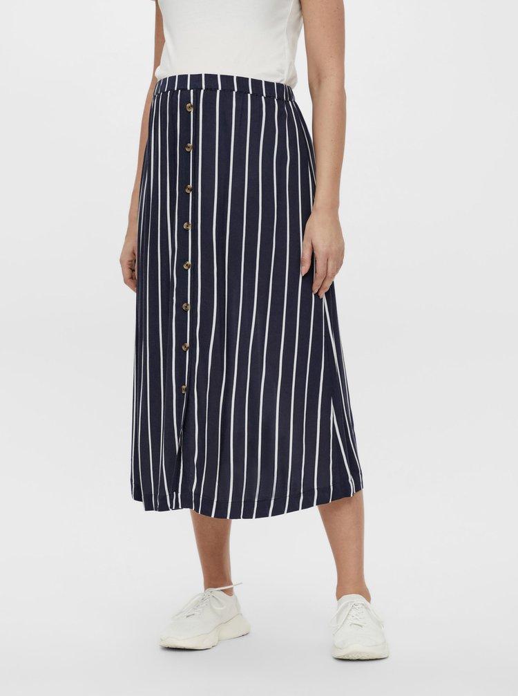 Tmavě modrá těhotenská pruhovaná midi sukně Mama.licious