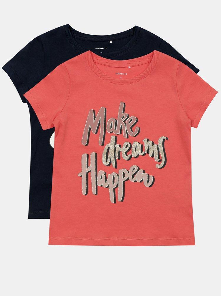 Sada dvou holčičích triček v modré a růžové barvě  name it Brigitta
