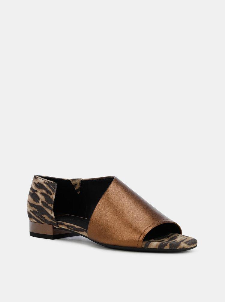 Hnědé dámské kožené vzorované sandály Geox