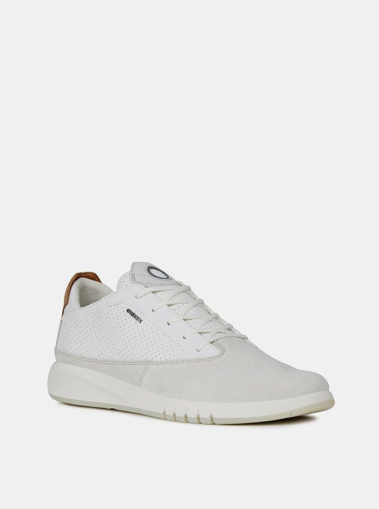 Biele pánske tenisky s koženými detailmi Geox