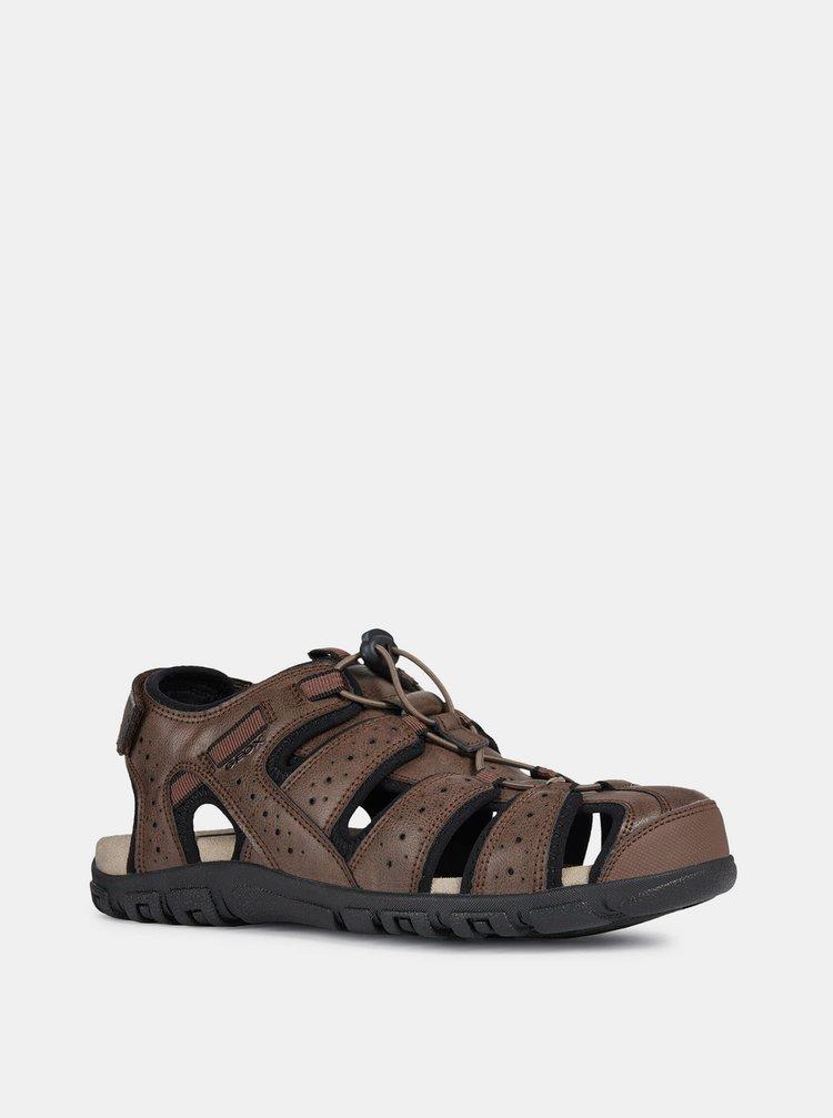 Hnedé pánske kožené sandále Geox