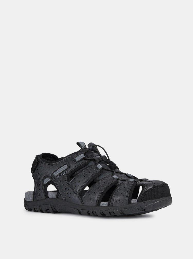 Černé pánské kožené sandály Geox