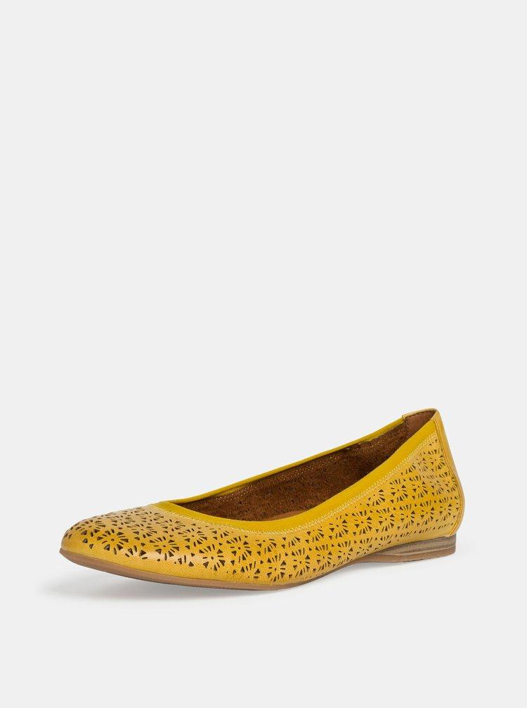 Žluté kožené vzorované baleríny Tamaris