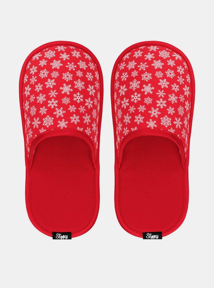Slippsy červené unisex domácí pantofle Red Snowflake