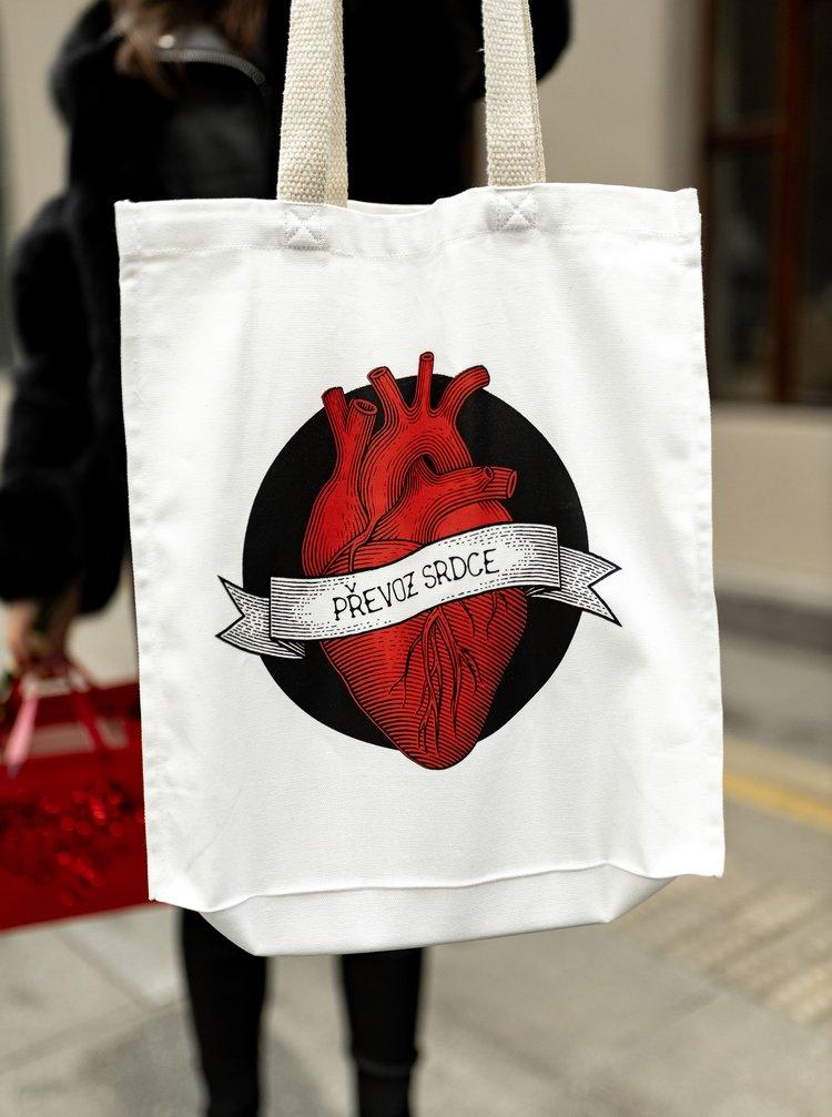 Bílá plátěná taška ZOOT Original Převoz srdce