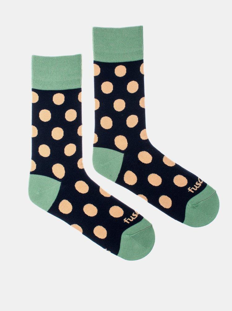Zeleno-modré puntíkované ponožky Fusakle Puntíčkář půlnoční