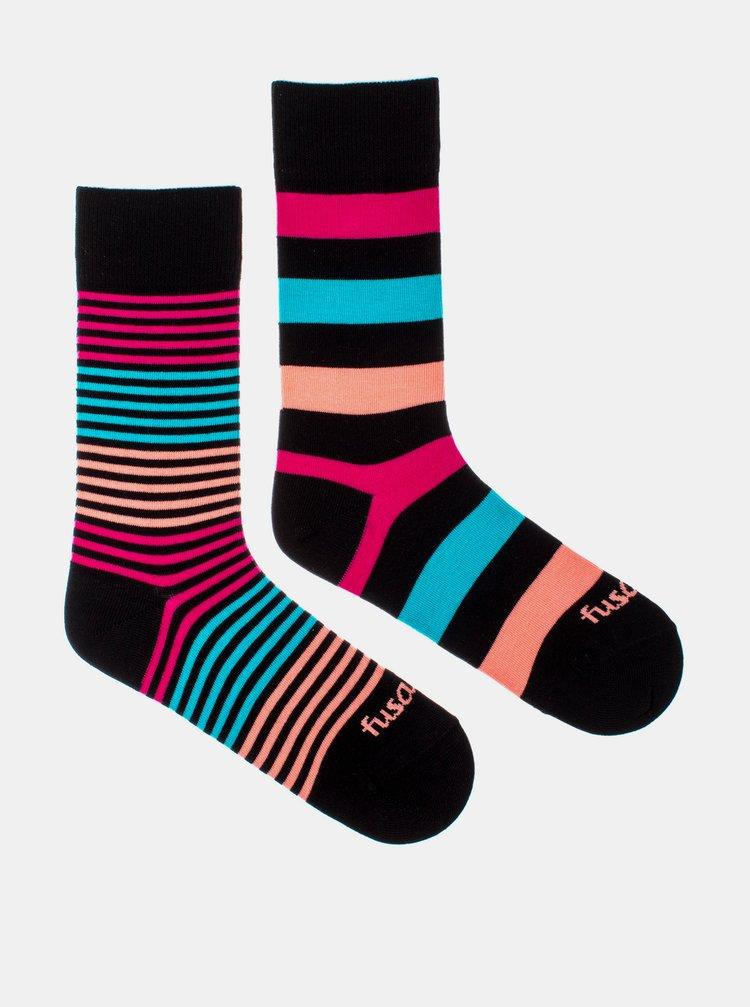 Modro-čierne pruhované ponožky Fusakle Extrovert