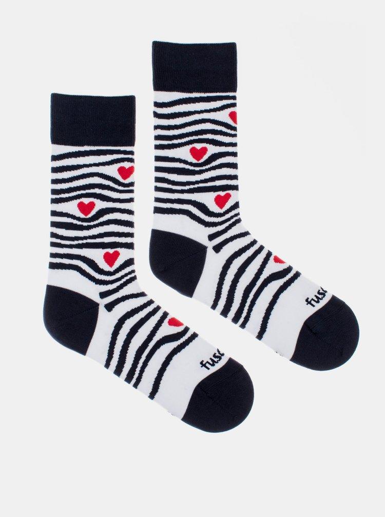 Bielo-čierne vzorované ponožky Fusakle Zebroláska