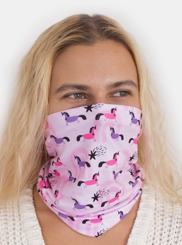 Růžový vzorovaný šátek 3v1 Fusakle