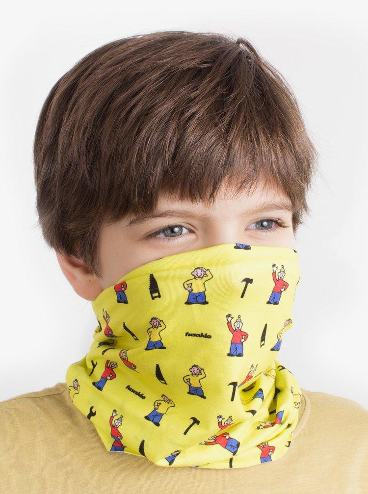 Žltá detský vzorovaná šatka 3v1 Fusakle