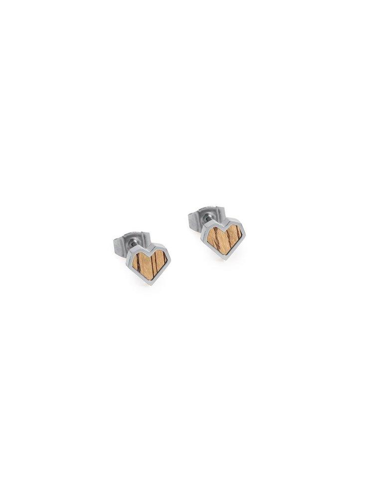 Náušnice s dřevěným detailem Lini Earrings Heart