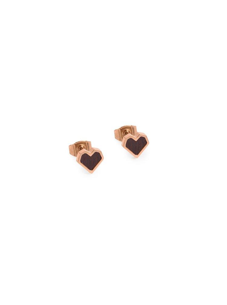 Náušnice s dřevěným detailem Rose Earrings Heart