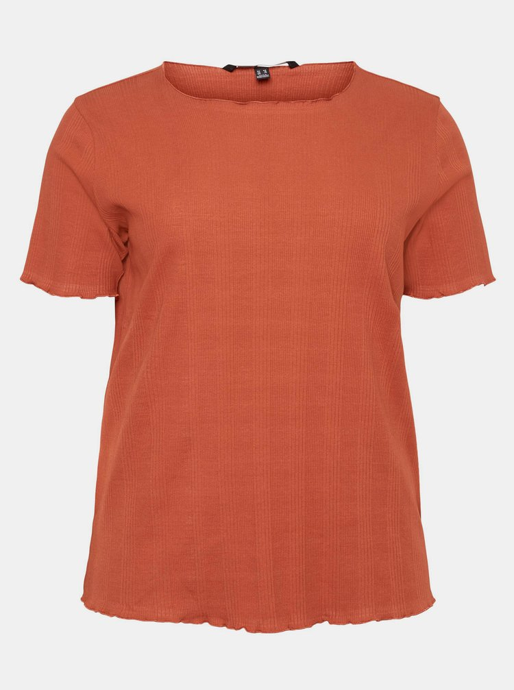 Cihlové tričko VERO MODA CURVE Grunt