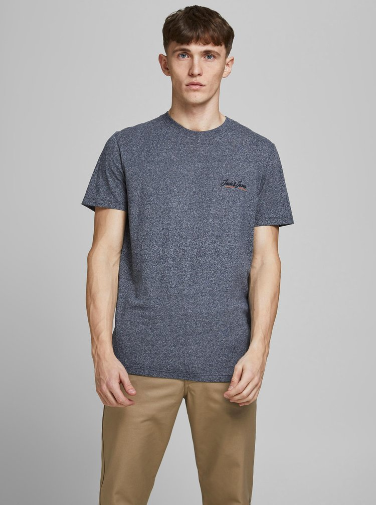 Tmavě modré žíhané tričko Jack & Jones Tons