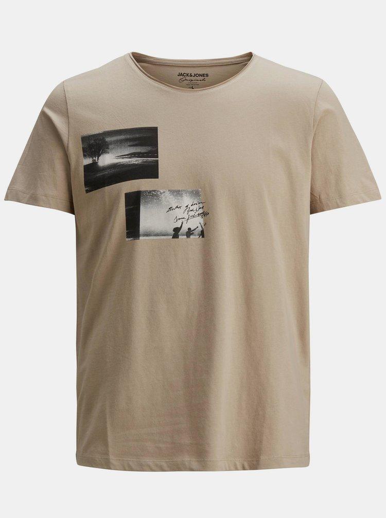 Béžové tričko s potiskem Jack & Jones Nobody