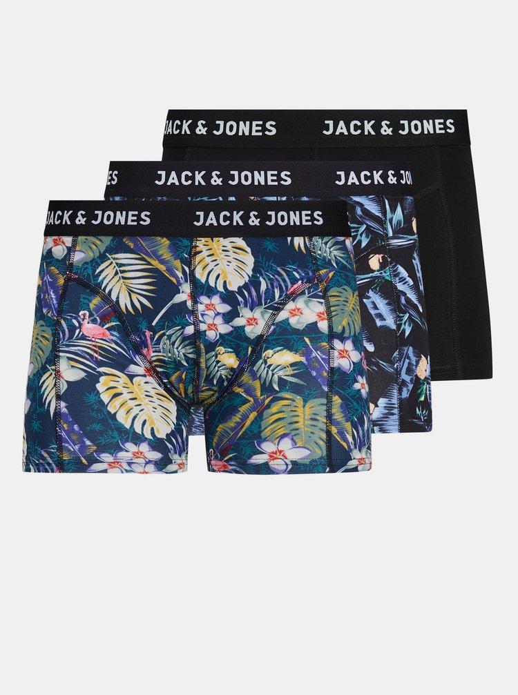Sada troch vzorovaných boxeriek v čiernej a modrej farbe Jack & Jones