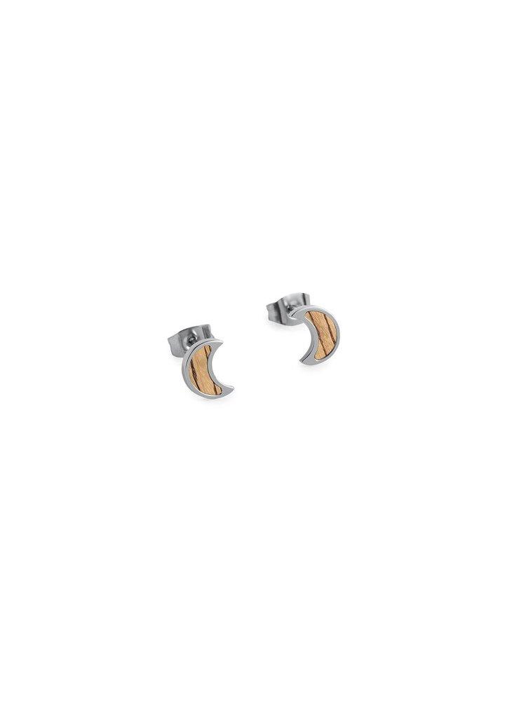 Náušnice s dřevěným detailem Lini Earrings Halfmoon