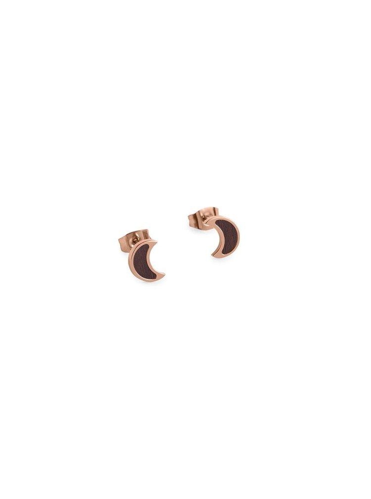 Náušnice s dřevěným detailem Rose Earrings Halfmoon
