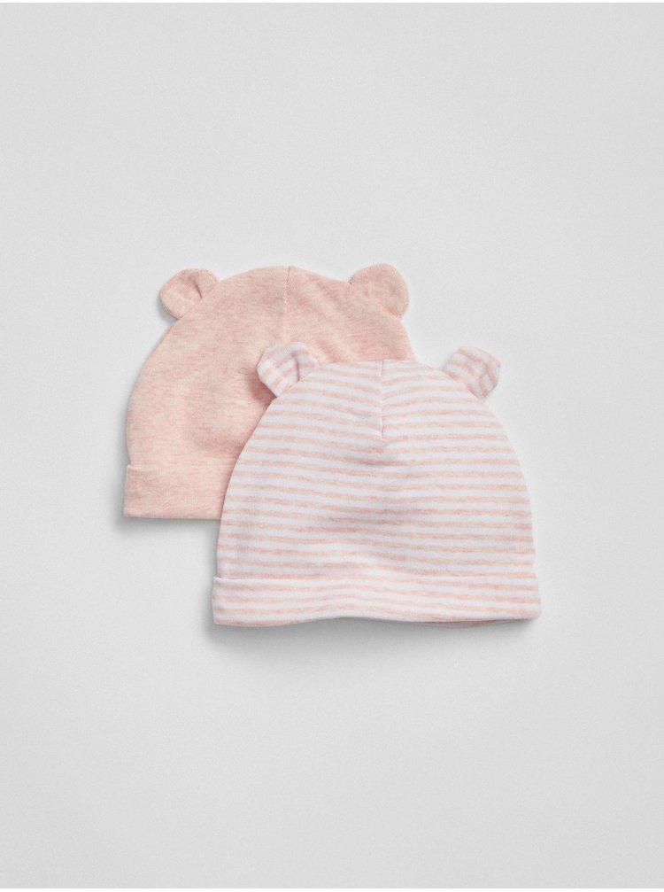 Růžová holčičí čepice GAP, 2ks
