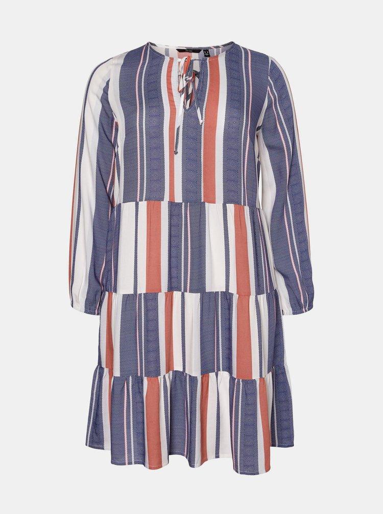 Bielo-modré vzorované šaty VERO MODA CURVE Birdy