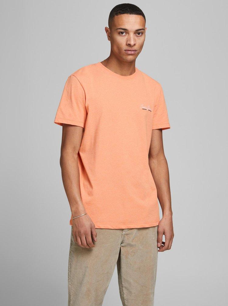 Oranžové žíhané tričko Jack & Jones Tons