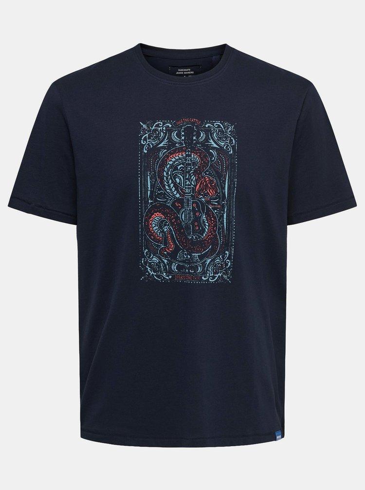 Tmavě modré tričko s potiskem ONLY & SONS Dexter