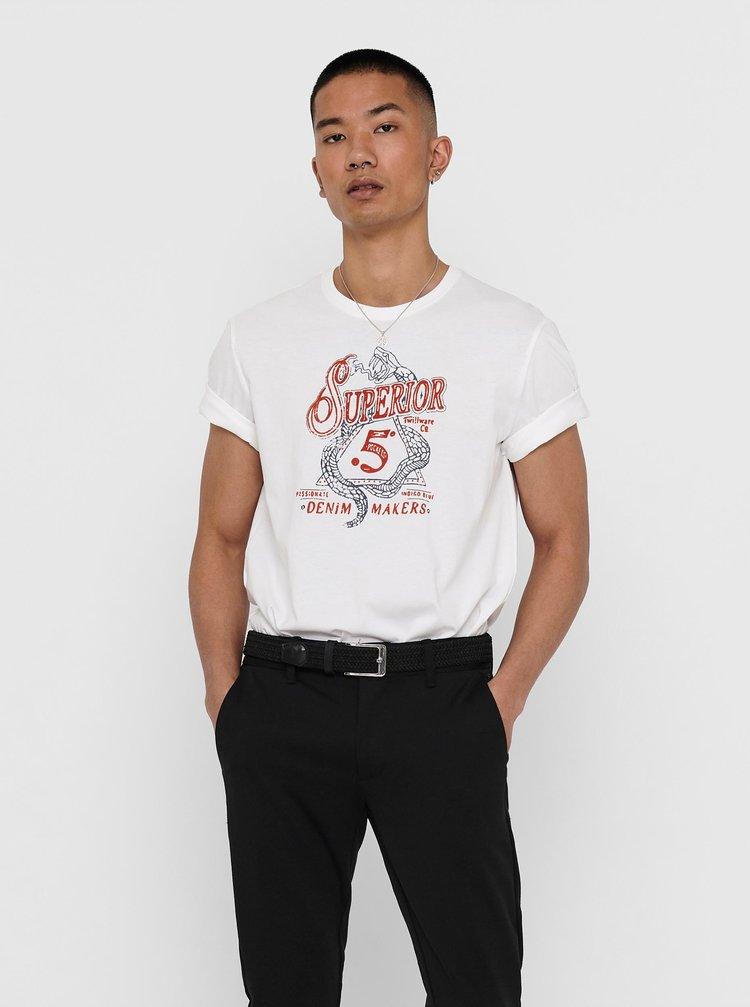 Bílé tričko s potiskem ONLY & SONS Dexter