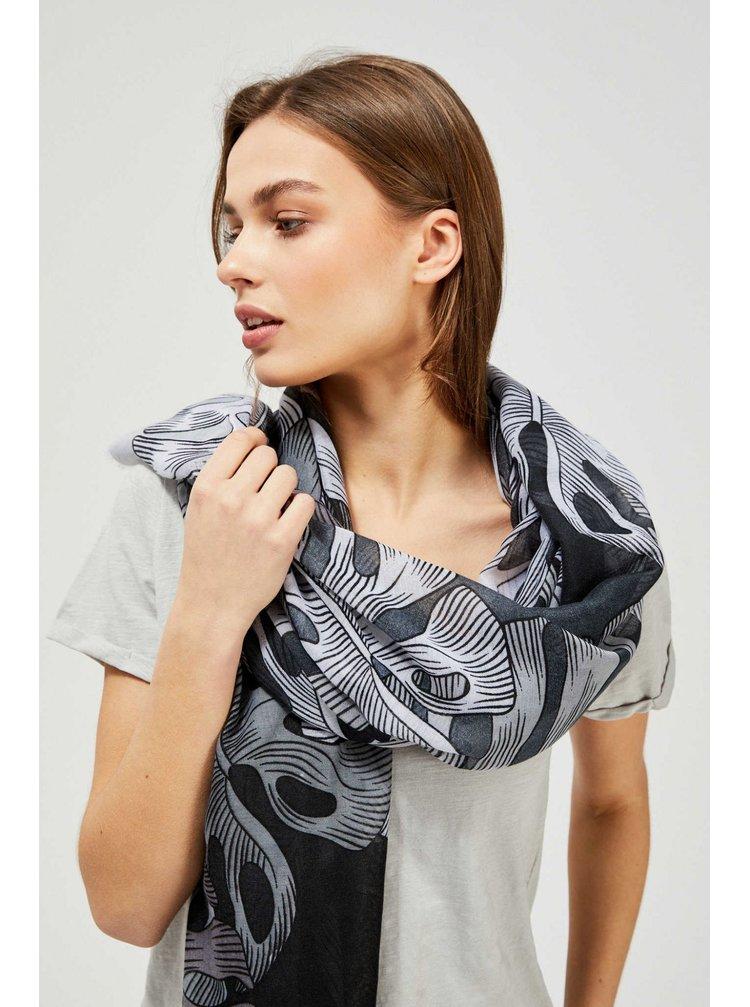 Moodo černo-bílý šátek s listy