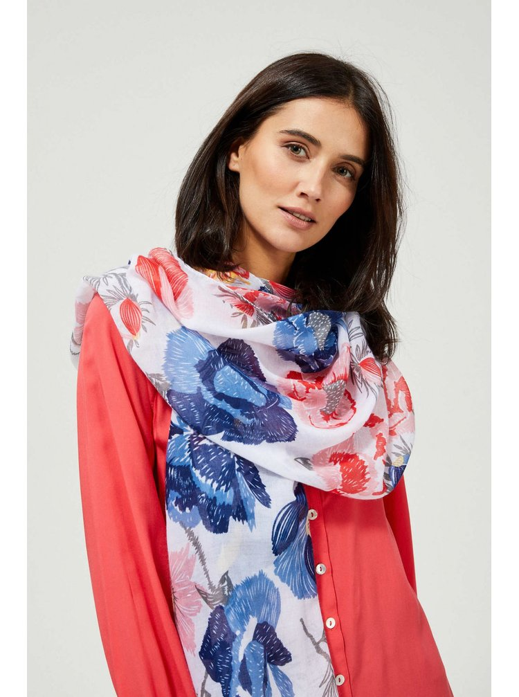 Moodo bílý šátek s květy